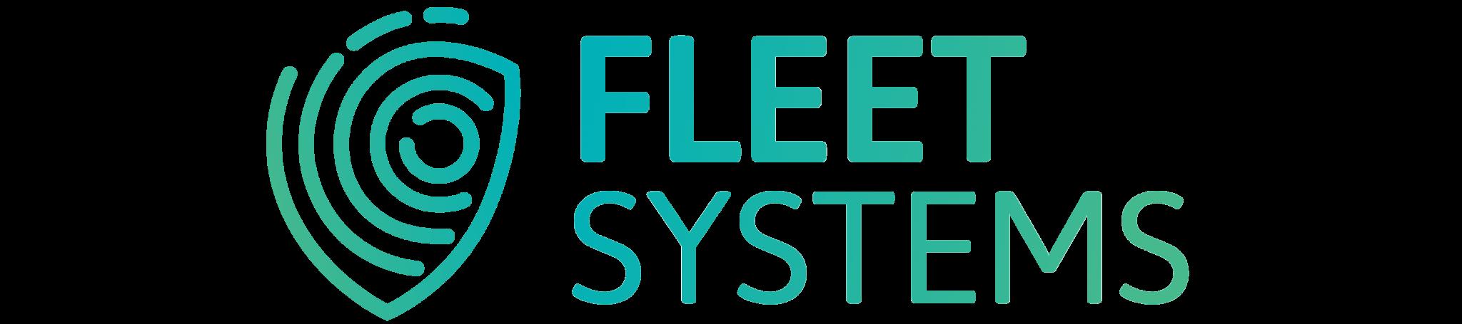 Fleet Systems Logo - Hintergrund weiß + Schriftzug mit Farbverlauf + transparent