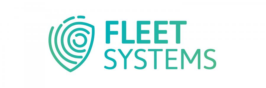 Fleet Systems Logo - Hintergrund weiß + Schriftzug mit Farbverlauf